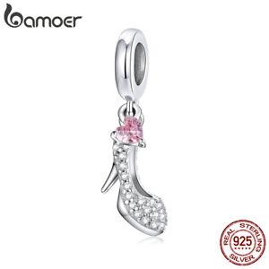 BAMOER Solid S925 Sterling Silver DIY Charms Pavé CZ Glass slipper For Bracelet