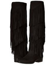 Sam Edelman Pendra Knee High Fringe Black Boots Low Heels Suede Size 6.5 M