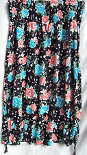 Black floral ROUCH Sides Elastic waist summer beach holiday maxi SKIRT 18 NEW