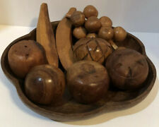 Wooden Bowl and Fruit Pieces Sason Philippines Vintage Set