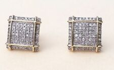 Mens Ladies 10K Yellow Gold 3D Square Real Diamonds Domed Stud Earrings Small