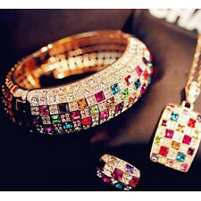 Luxury Colorful Rhinestone Crystal Finger Rings Jewelry Size 7 Valentine's Xmas