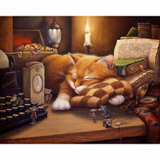 Sleeping Cat DIY Digital Oil Painting Kit Paint by Numbers on Canvas Home Decor
