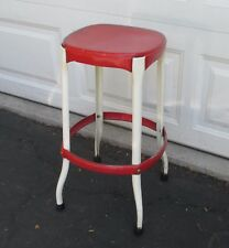 Vintage Red Metal Cosco Bar Stool Chair Kitchen All Metal Old Industrial