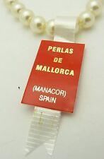 "VINTAGE New 8mm 16"" Mallorca Pearl Necklace Tag Perlas De Mallorca Spain"