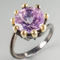 Handmade Jewelry Natural Amethyst 925 Sterling Silver Ring Size 8/R113941