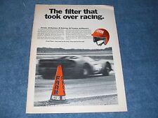 """1966 Fram Filters Vintage Ad """"The Filter that Took Over Racing"""" Sebring Daytona"""