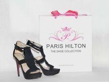 Paris Hilton black suede high heels size 4 37 new with box
