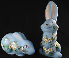 """Signed Pair 6.5"""" Mosser Painted Glass Satin Baby Blue Bunny Rabbits Floral Set"""