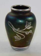 Silver overlay cabinet vase, Bohemian ca 1900, iridescent bronze [10949]
