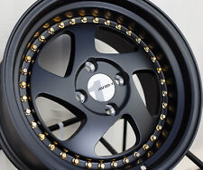 AVID.1 AV-19 15X8 +25 4X100 BLACK RIM FIT YARIS BMW E21 E10 E30 2002 325 318 MR2