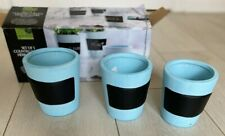 Set of 3 Blue Garden Collection Herb Planters Pots