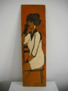 Vintage 1965 African American Portrait Painting Signed