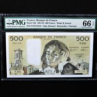 1992 France 500 Francs, Pick # 156i, PMG 66 EPQ Gem Uncirculated