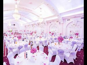 100 white  spandex Or Bridal Dress Chair covers To HIRE ONLY