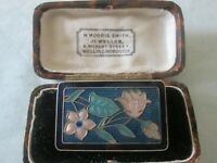 VINTAGE CLOISONNE ENAMEL GOLD PLATED FLORAL BROOCH SHAWL PIN