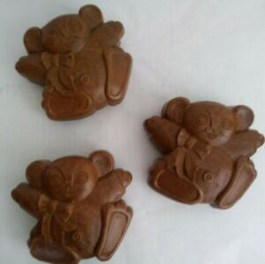 Homco Teddy Bear Set of 3 Brown Wall Pockets 1985 Childs Room Decor 6075 New