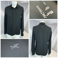 Arcteryx Long Sleeve Snap Shirt S Men Black Poly Snaps Mint YGI RE2202