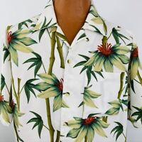 Island Blue Hawaiian Aloha Large Mens Shirt Bamboo Floral Beige Tropical