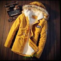 Winter Thicken Cotton Padded Fur Hooded Lining Mens Korean Overcoats Jacket Coat