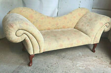 antique,repro,chaise longue,floral,curved arms,2 seat,sofa,cabriole legs,bedroom