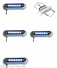 LED UNDERWATER LIGHT 4 PACK BLUE Marine/ Boat/POOL 12 volt Stainless Steel 316G