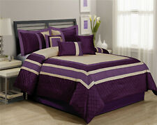Hig 7 Piece Embroidery Patchwork Bed in a Bag Comforter Sets