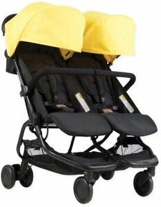 Mountain Buggy Nano DUO Double Stroller, Cyber Yellow Bonus with Front Grab Bar
