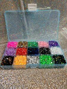 5mm Flatback Jelly AB Rhinestones Multi color Variety Kit - 15 Grid Case  🇺🇸