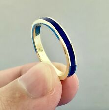 14K Yellow Gold Channel Set Lapis Lazuli Anniv Eternity Stackable Band Ring