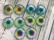 20mm ronda los ojos humanos Vidrio Cabuchones fabricación de joyas juego de 5 Pares Azul Verde