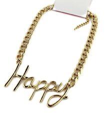 Collar feliz de la palabra del tono del oro con la cadena sólida