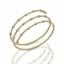 14k Heavy Yellow Gold Beaded Curled Bangle Bracelet With .52 Ctw Real Diamonds