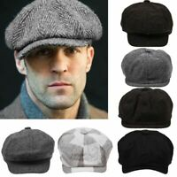 Peaky Blinders Hat Newsboy Flat Cap Herringbone Tweed Wool Baker Boy Gatsby New