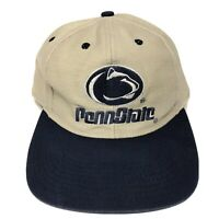 VTG 90s Penn State Nittany Lions Snapback Hat Adult NCAA College Football Beige