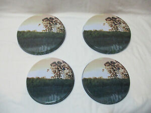 FREE POST Collectable Retro Vintage 4 x Hob Cover Protector Metal Sunset Scene