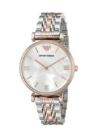 New Emporio Armani Classic Rose Gold Silver Mother of Pearl Women's Watch AR1683