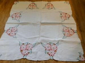 Vintage Madeira Style Cutwork Embroidered Pink Florals Irish Linen Tablecloth