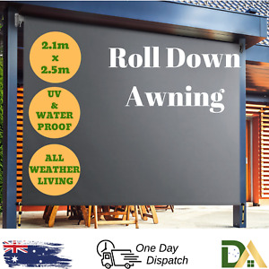 Outdoor Deck Shade Privacy Screen Roll Down Blind Retractable Awning 2.1m x 2.5m
