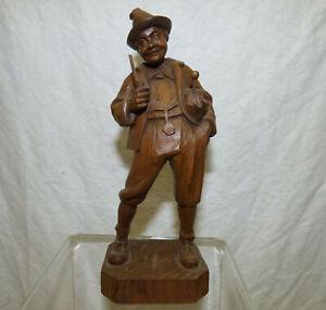 """Vtg Old 7"""" Carved Wood Man w Umbrella & Pipe Black Forest Bavarian German Swiss"""
