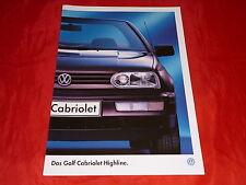 """VW Golf III Cabriolet """"Highline"""" Sondermodell Prospekt von 1995"""