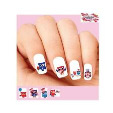 Waterslide Owl Nail Decals Set of 20- 4th of July Patriotic Owls Assorted