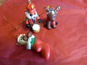 "Lot of 3 Webkinz Ornaments Christmas Holidays Pig, Reindeer, & Panda Bear 2""-3"""