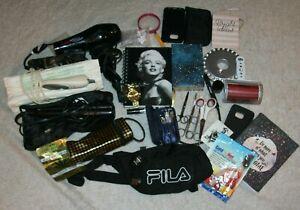 Junk Drawer Lot Hair Dryer Iron Watch Fila Fanny Pack Journals Marilyn Monroe