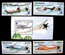 1712-15 & 1718 SOUVENIR SHEET, HELICOPTERS UNUSED CTO OG (SEE NOTE)