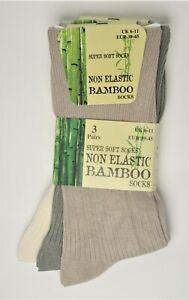 Mens Bamboo Non Elastic Soft As Silk Socks Breathable Anti Bacterial LooseTop