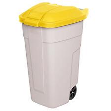 Wertstoffsammler, 100 Liter, Korpus beige, Deckel gelb, HxBxT 850x510x550 mm