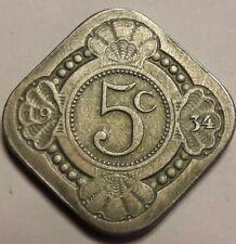 Pays-Bas, Wilhelmina I, 5 Cents, 1934, TTB, Copper-nickel Nederlands
