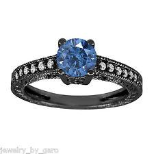 1.00 CT ENHANCED FANCY BLUE DIAMOND ENGAGEMENT RING VINTAGE STYLE 14K BLACK GOLD