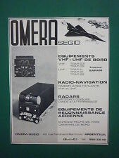 9/1964 PUB OMERA SEGID ARGENTEUIL VHF UHF RADAR CAMERA RADIOPHARE FRENCH AD